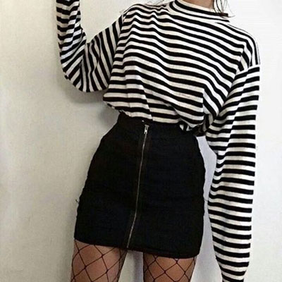 Stripe Long Sleeve + Zipper Tight Skirt