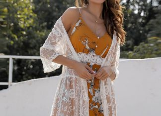 Solid Lace Floral Cardigan