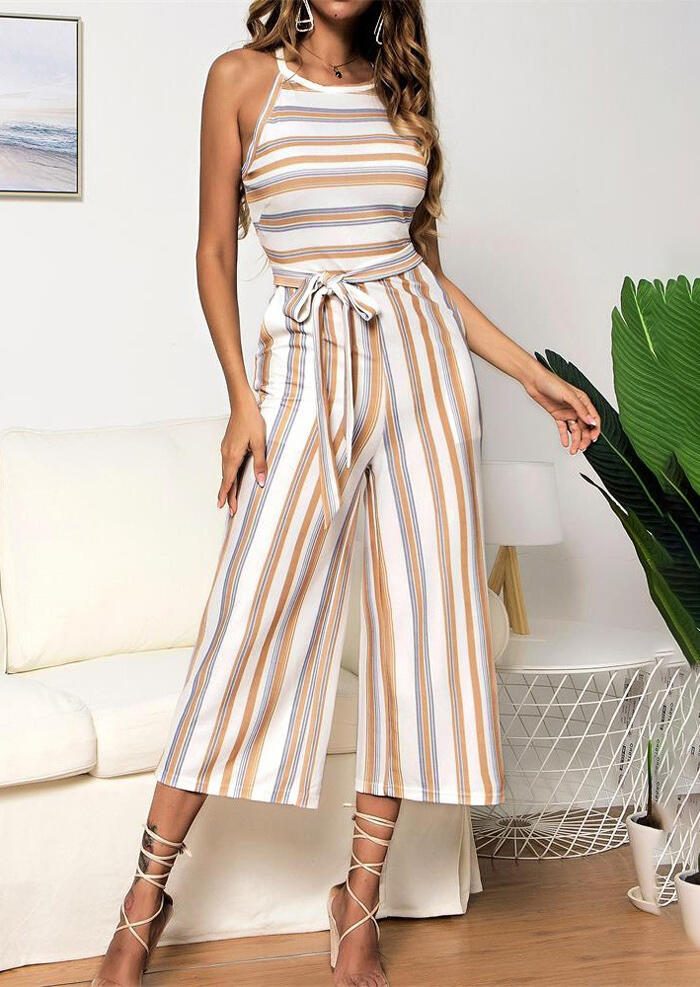 Striped Pocket Sleeveless Jumpsuit
