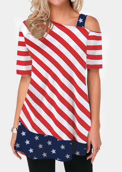 American Flag Striped One Shoulder Blouse