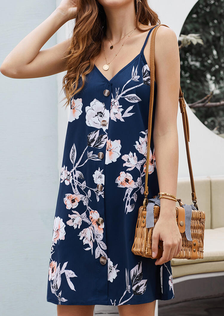 Floral Button V-Neck Mini Dress