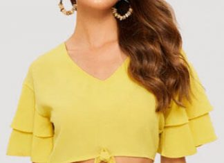 Solid Tie Short Sleeve Blouse