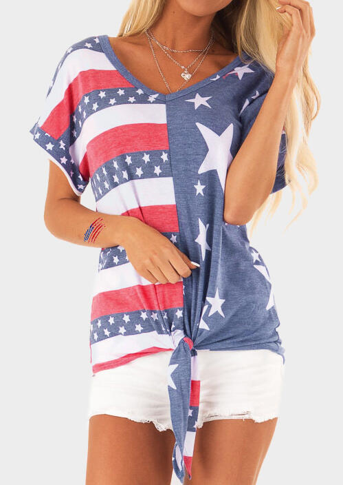 American Flag Star Asymmetric Tie Blouse