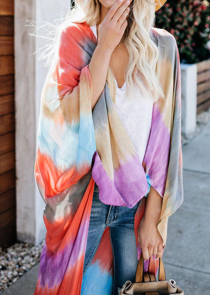 Color Block Batwing Sleeve Cardigan