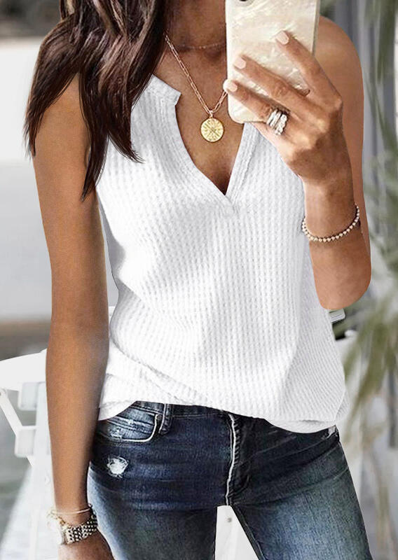 Solid Knitted V-Neck Tank
