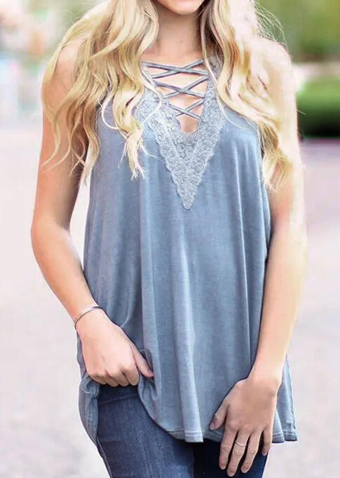 Solid Lace Splicing Criss-Cross Tank
