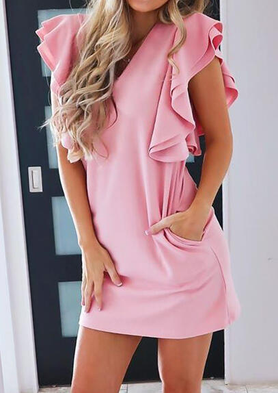 Solid Layered Pocket Mini Dress