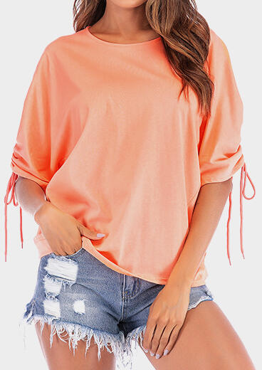 Solid Ruffled Tie Blouse
