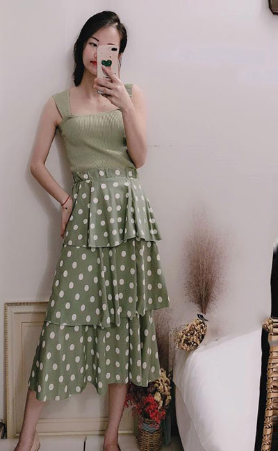 avocado green color Cake Skirts