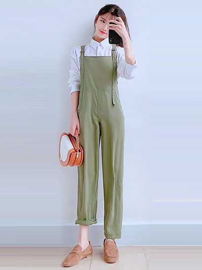 avocado green color bib pants
