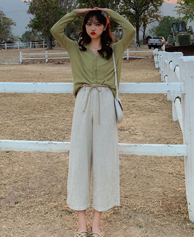 avocado green color top with wide-leg pants