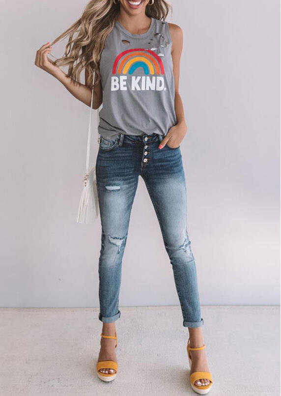 Be Kind Rainbow Hollow Out Tank