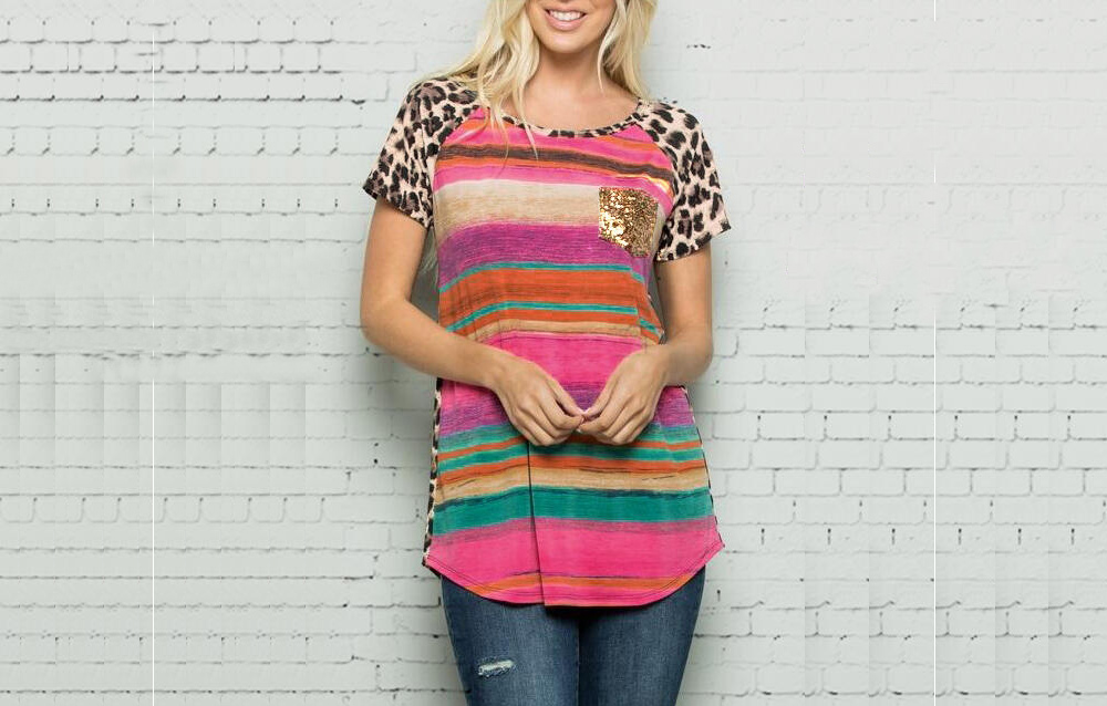 Colorful Striped Leopard Printed Blouse