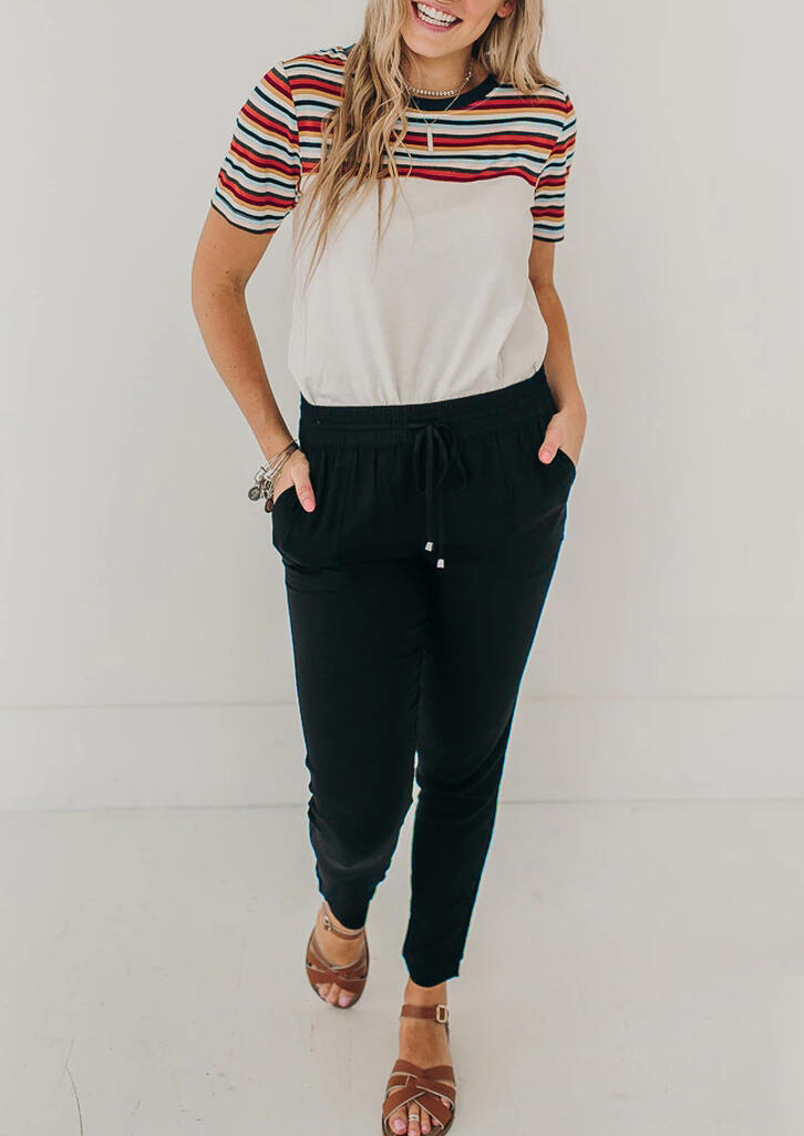 Colorful Striped Splicing T-Shirt Tee