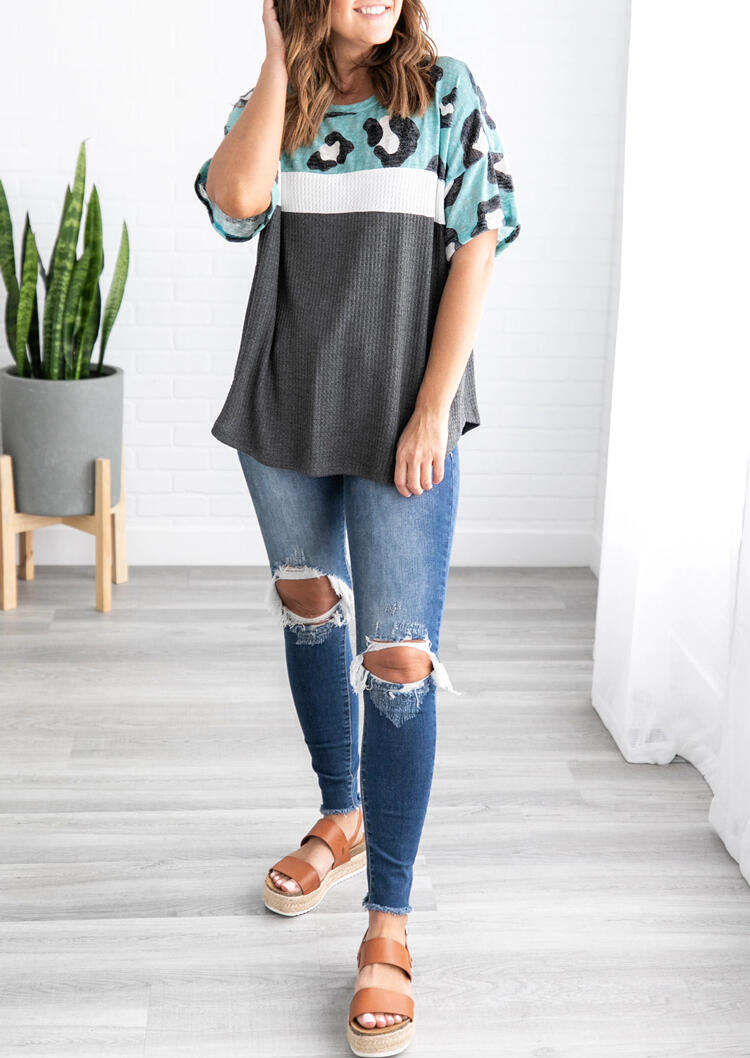 Leopard Printed Color Block Blouse