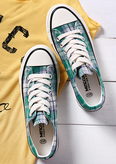 Plaid Lace Up Canvas Sneakers
