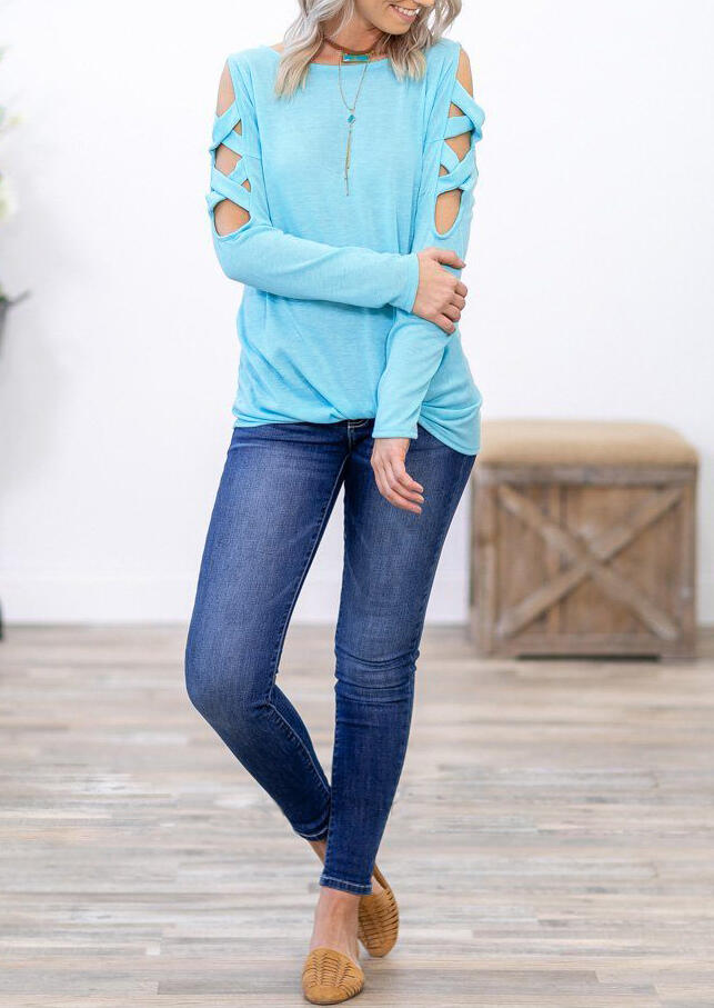 Solid Hollow Out Criss-Cross Twist Blouse