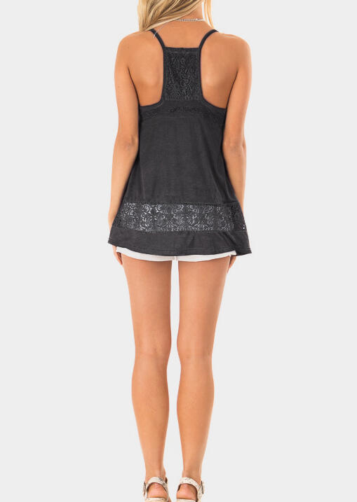 Solid Lace Splicing V-Neck Camisole