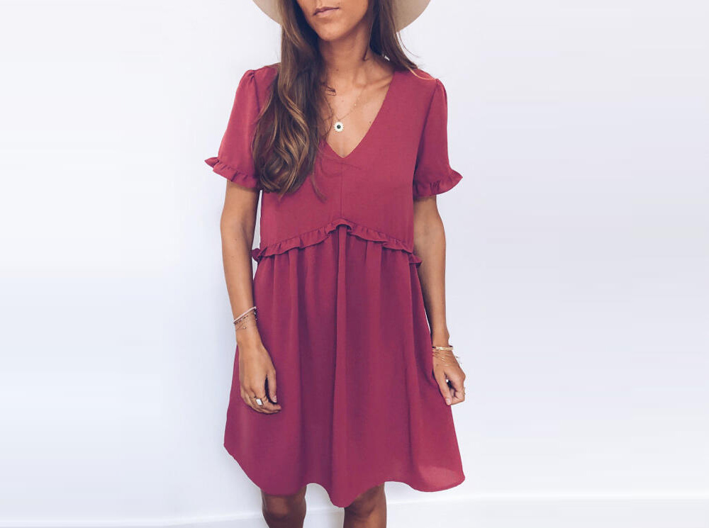 Solid Ruffled V-Neck Mini Dress