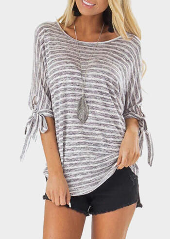 Striped Criss-Cross Tie Blouse