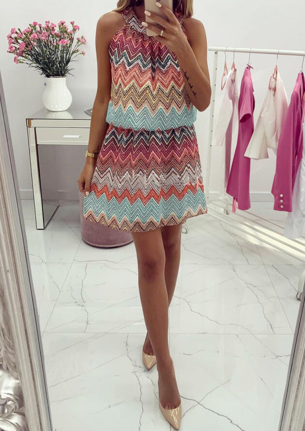 Zigzag Hollow Out Mini Dress