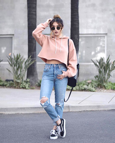Crop Top And Jeans - Boyish Style