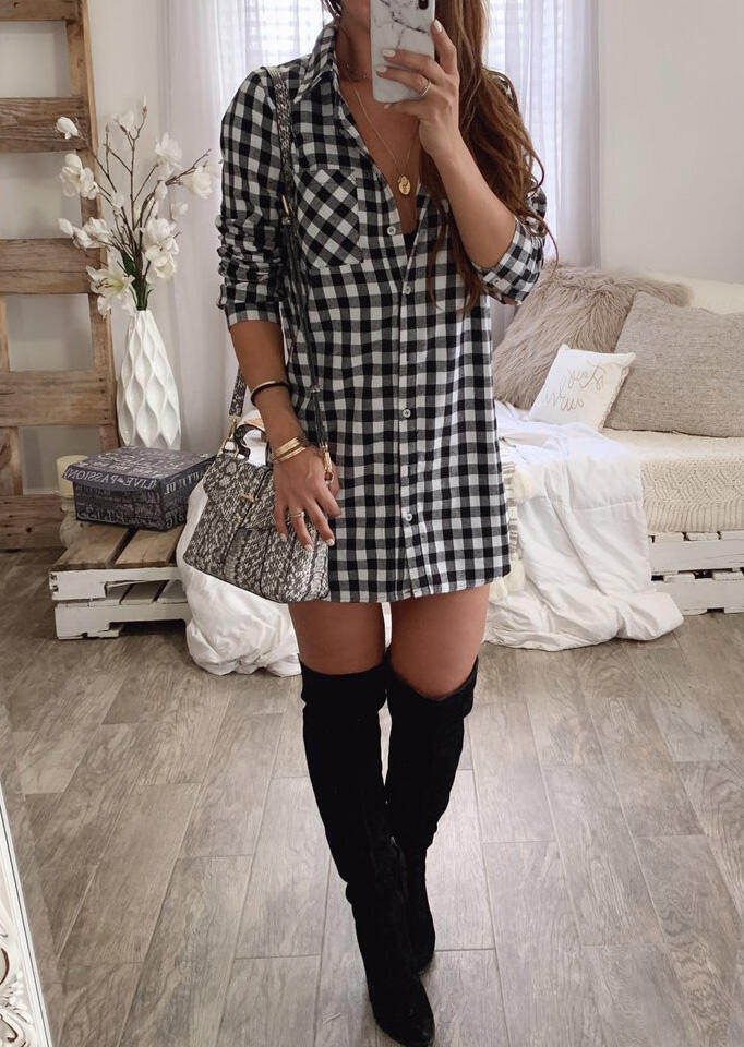 Plaid Button Long Sleeve Mini Dress