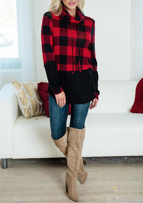 Plaid Splicing Drawstring Turtleneck Blouse