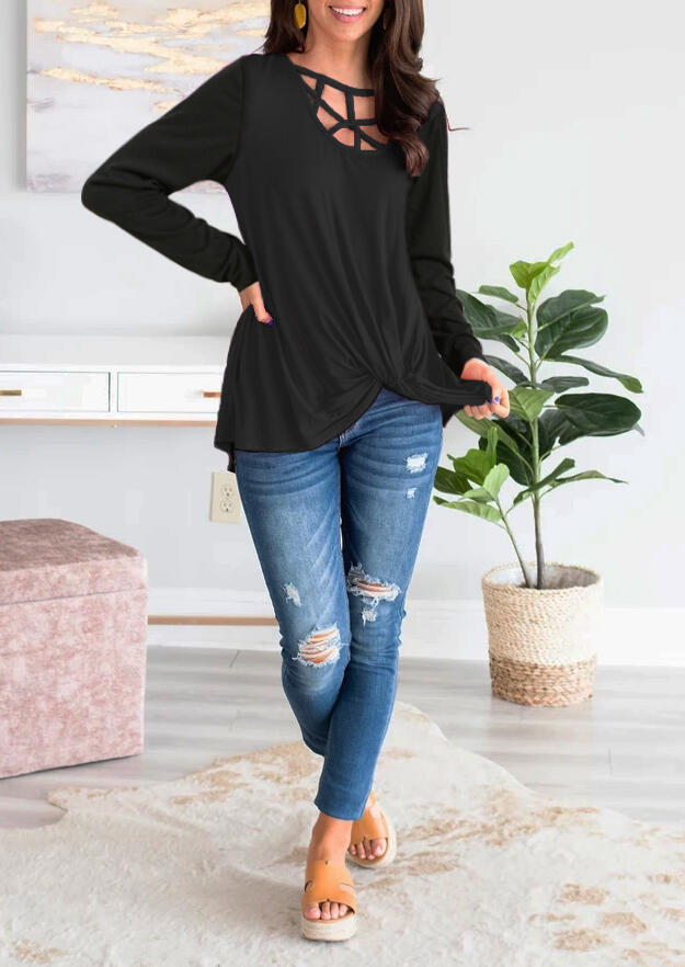Solid Hollow Out Twist Long Sleeve Blouse