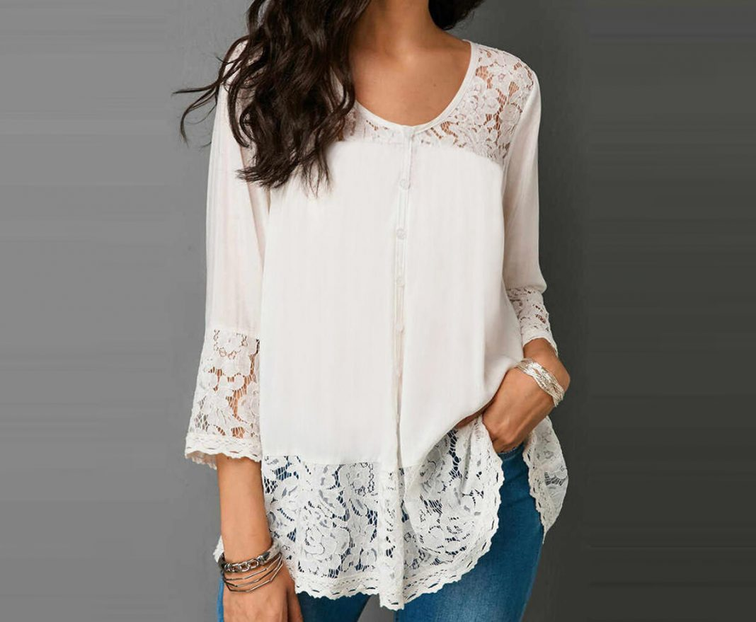 Solid Lace Splicing Three Quarter Sleeve Blouse