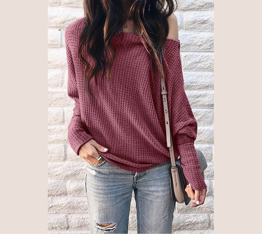 Solid One Shoulder Long Sleeve Blouse
