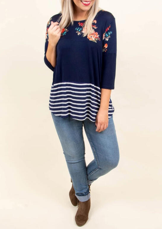 Striped Floral Splicing T-Shirt Tee