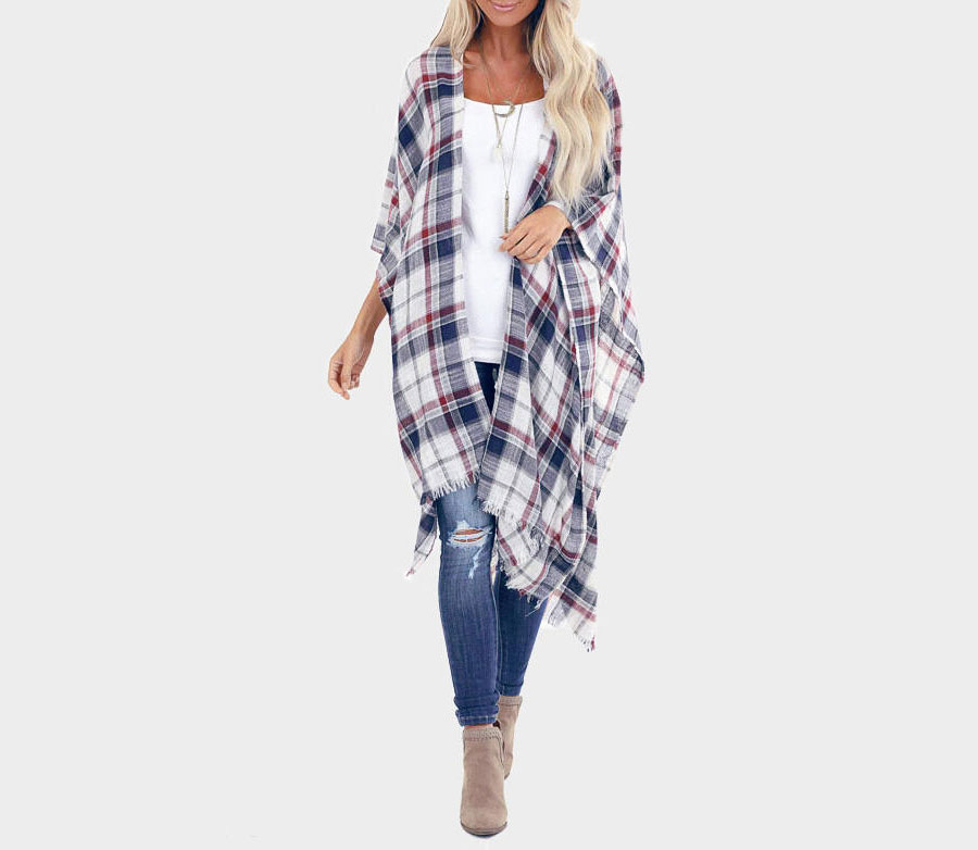 Colorful Plaid Asymmetric Cardigan
