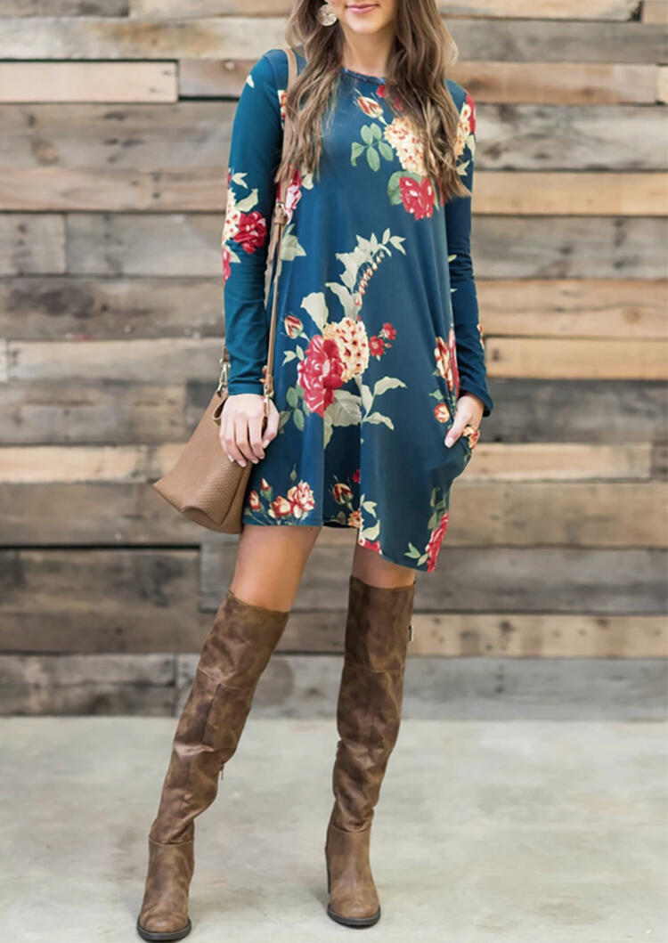 Floral Pocket Long Sleeve Mini Dress