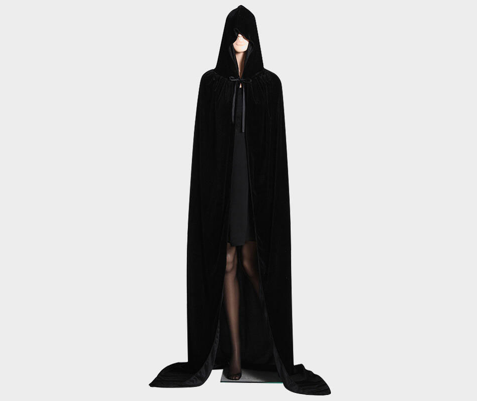 Halloween Solid Drawstring Hoodied Cape