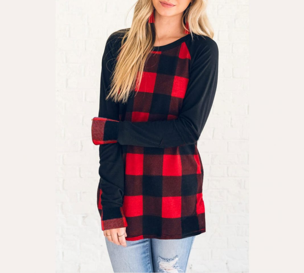Plaid Splicing Long Sleeve T-Shirt Tee