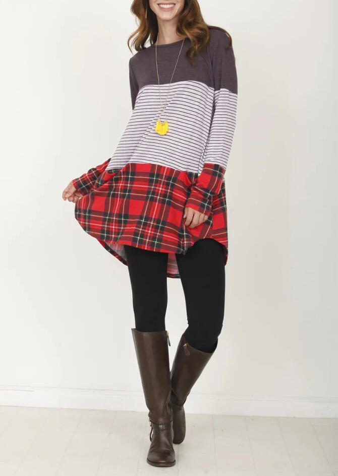 Striped Plaid Color Block Blouse